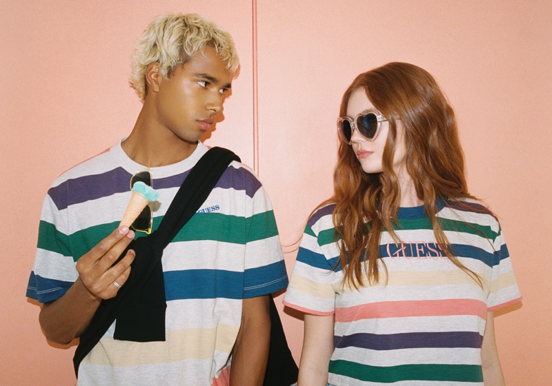 Daouda Ka and Victoria Britt don striped tees for GUESS Originals' fall 2020 campaign.