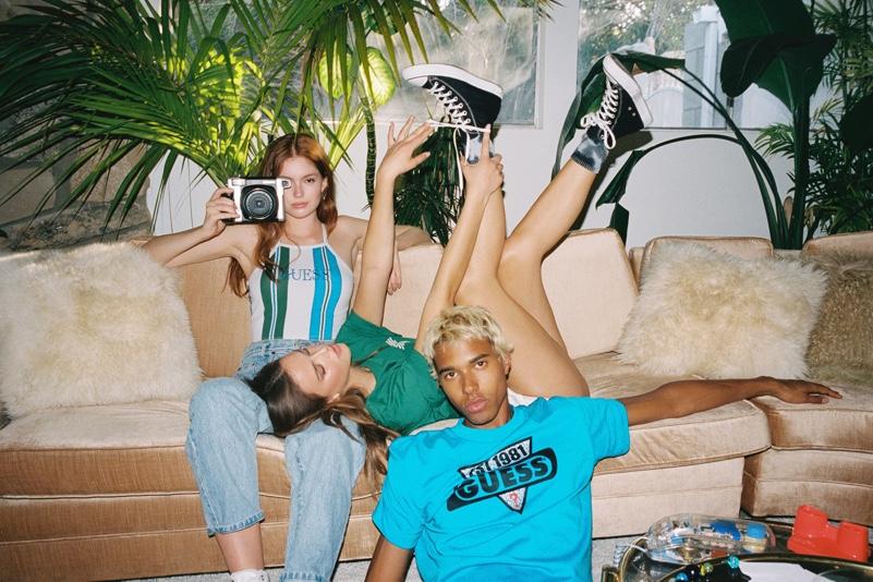Models Victoria Britt, Mia Hewett, and Daouda Ka star in GUESS Originals' fall 2020 campaign.