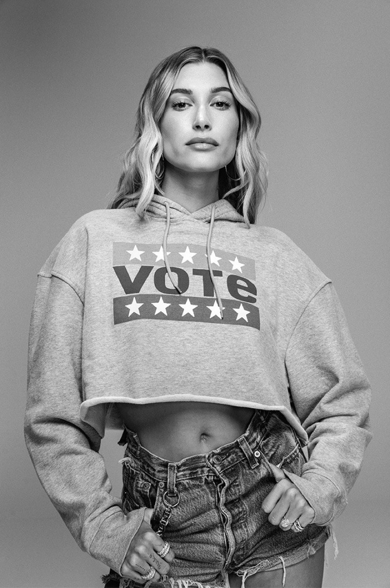 Hailey Bieber connects with Levi's for a 2020 vote campaign.