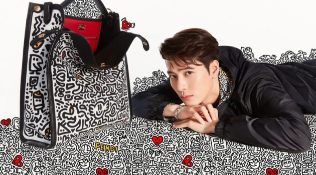 Posing next to a covetable Mr. Doodle bag, Jackson Wang fronts Fendi's latest campaign.