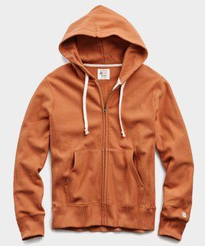 Lightweight Full Zip Hoodie in Spice