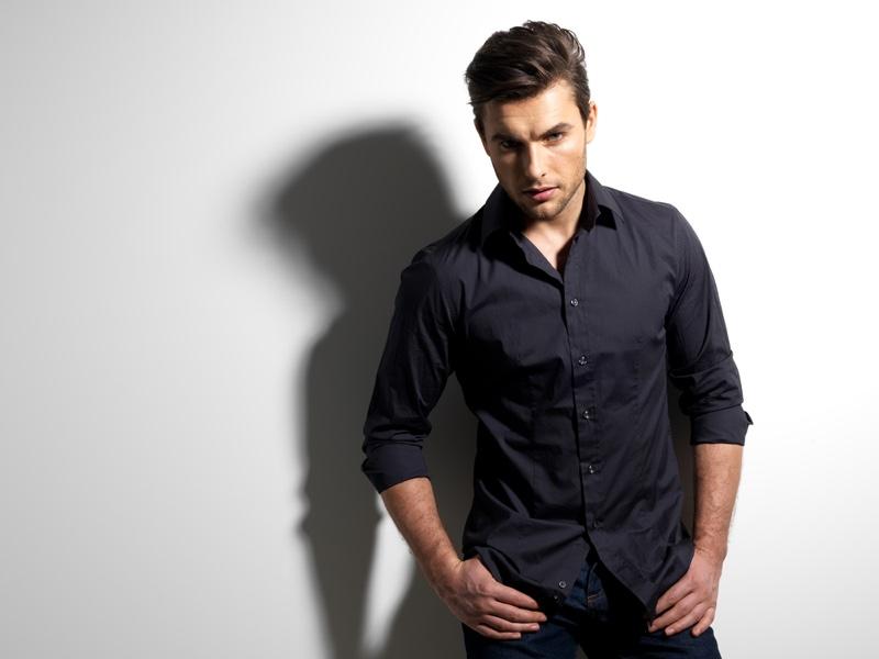 Male Model Black Button Up Shirt Jeans