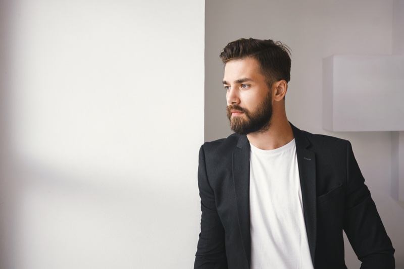 Male Model Blazer White T-Shirt Beard