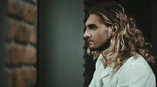 Male Model Long Blond Wavy Hairstyle