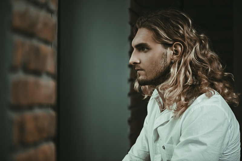 Male Model Long Blond Wavy Hairstyle