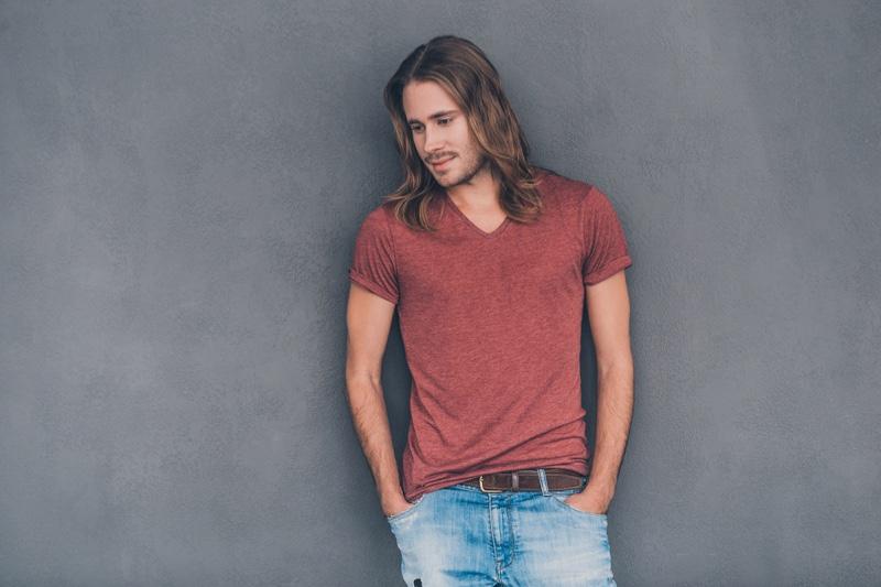 Male Model Long Hair T-Shirt Jeans