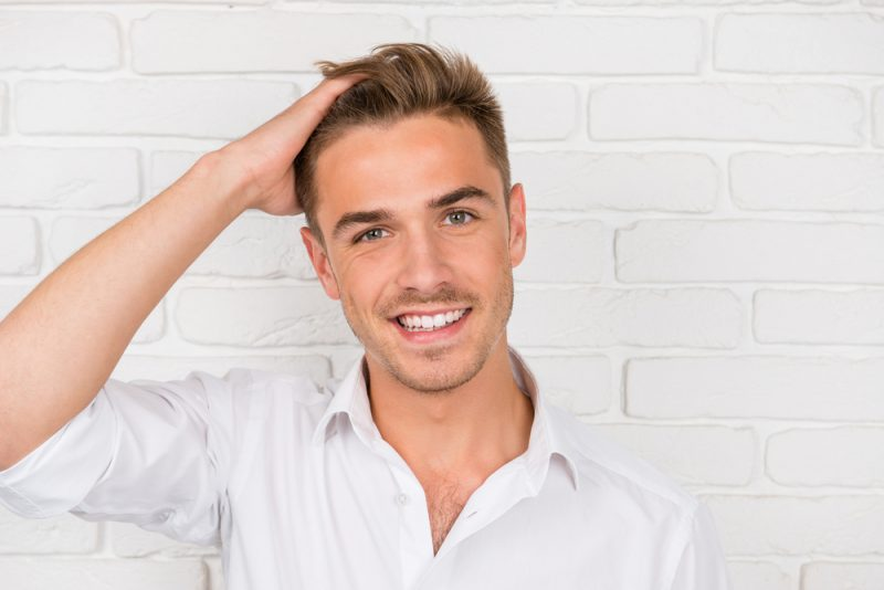 Male Model with White Teeth