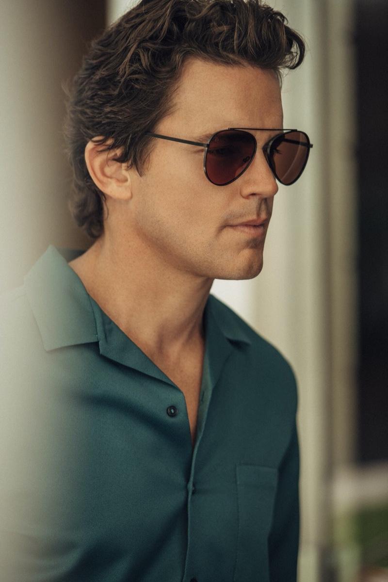 Actor Matt Bomer dons Privé Revaux Cliffs Blue Light sunglasses.