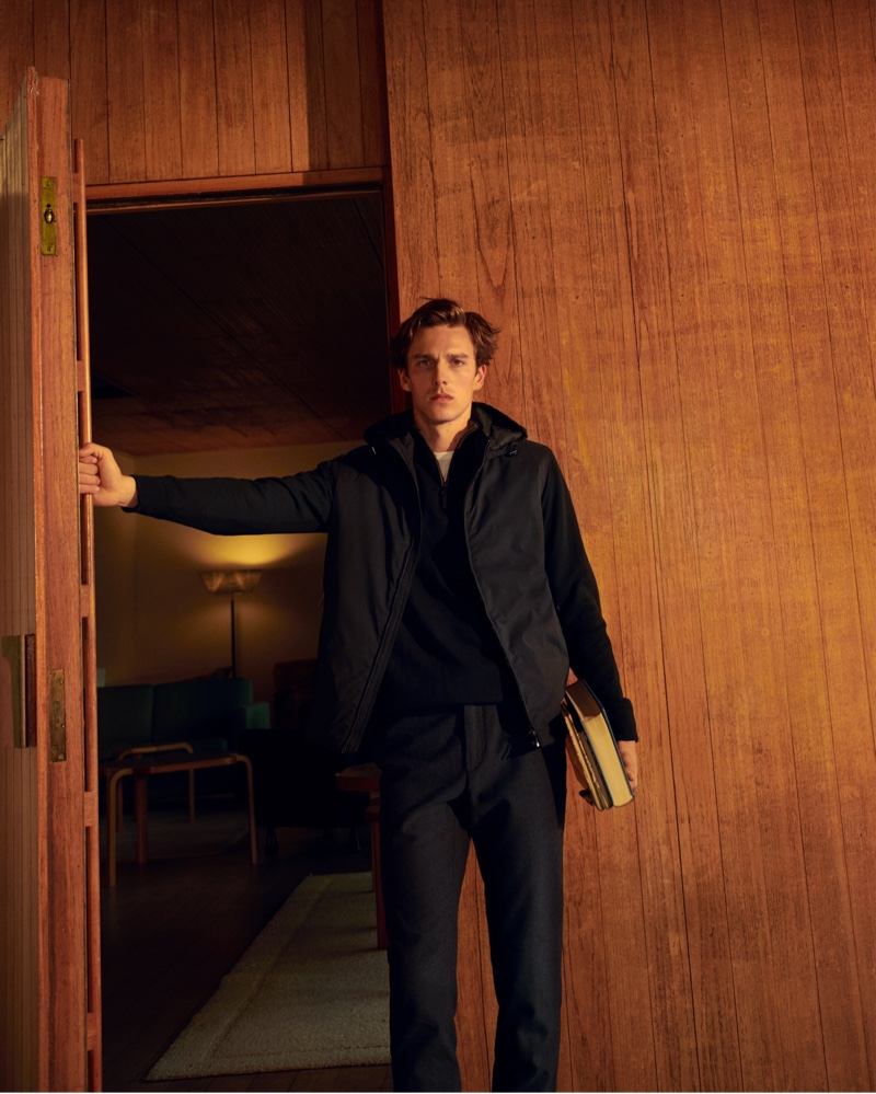 Model Quentin Demeester dons fall menswear from Massimo Dutti.
