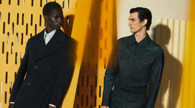 Models Malick Bodian and Luca Lemaire star in Salvatore Ferragamo's fall-winter 2020 men's campaign.