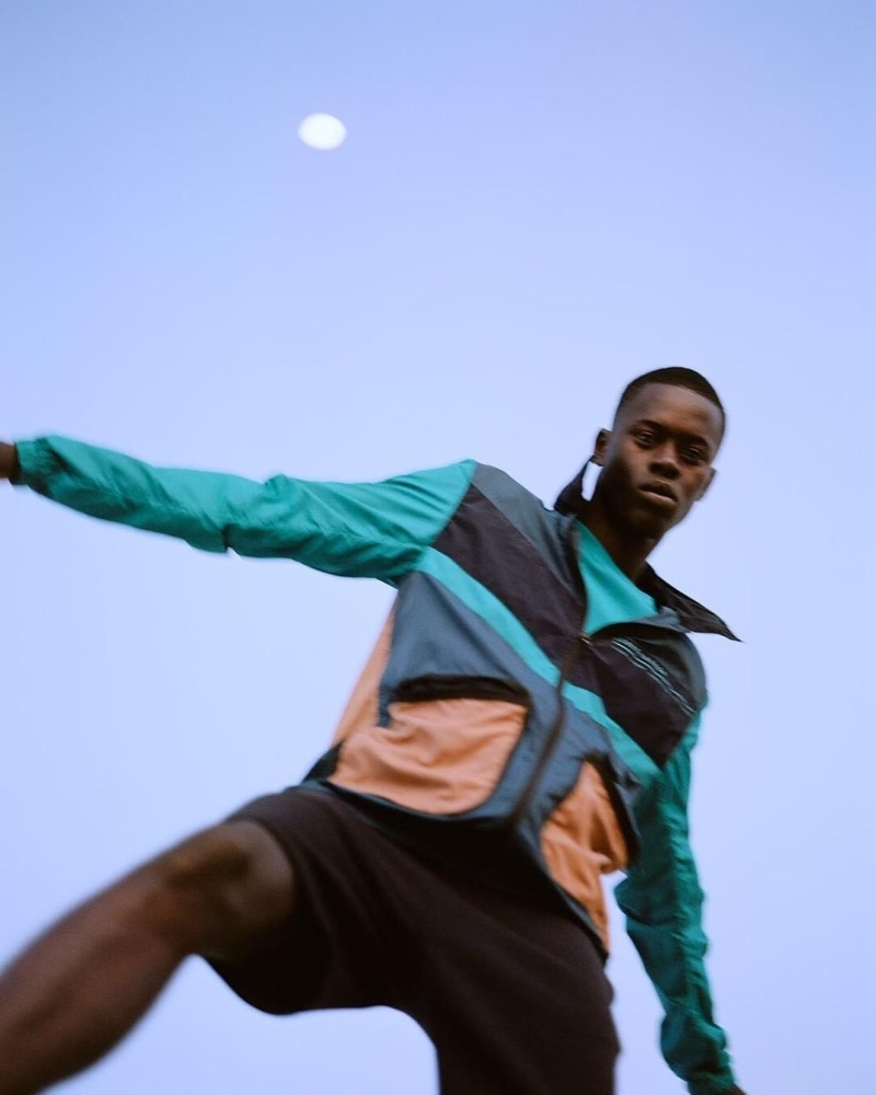 Going sporty in a color-block jacket, Alpha Dia fronts Scotch & Soda's pre-fall 2020 campaign.