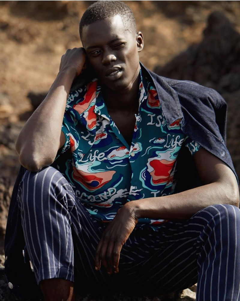 Alpha Dia dons relaxed tailoring from Scotch & Soda's pre-fall 2020 men's collection.
