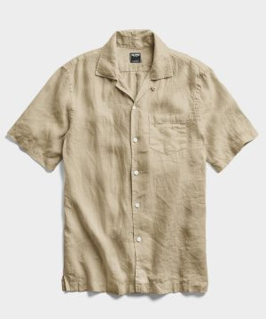 Short Sleeve Linen Camp Collar Shirt in Sand Dune