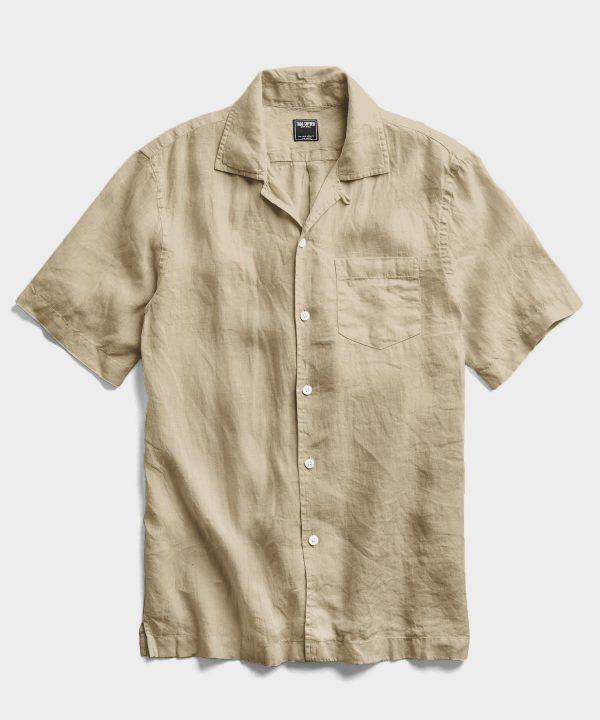 Short Sleeve Linen Camp Collar Shirt in Sand Dune