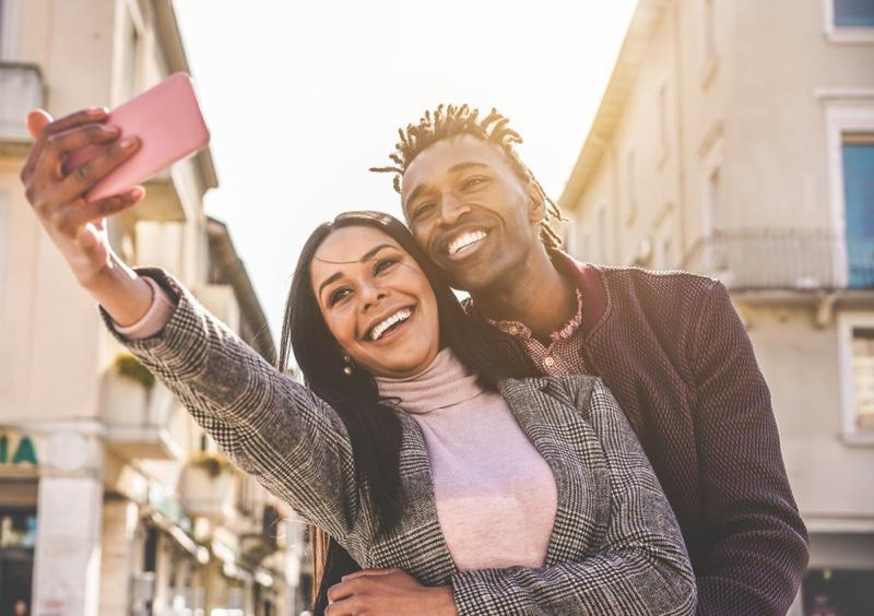 Smiling Black Couple Selfie Phone Influencers