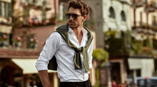 Stylish Male Model Street Tied Sweater Shirt Sunglasses