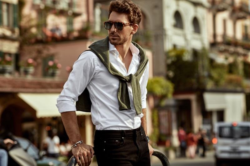 Stylish Male Model Street Tied Sweater Shirt Sunglasses