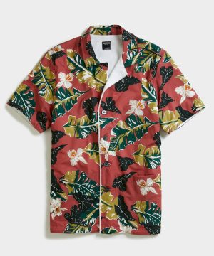 Terry Lined Pool Shirt Sleeve Shirt in Red Floral