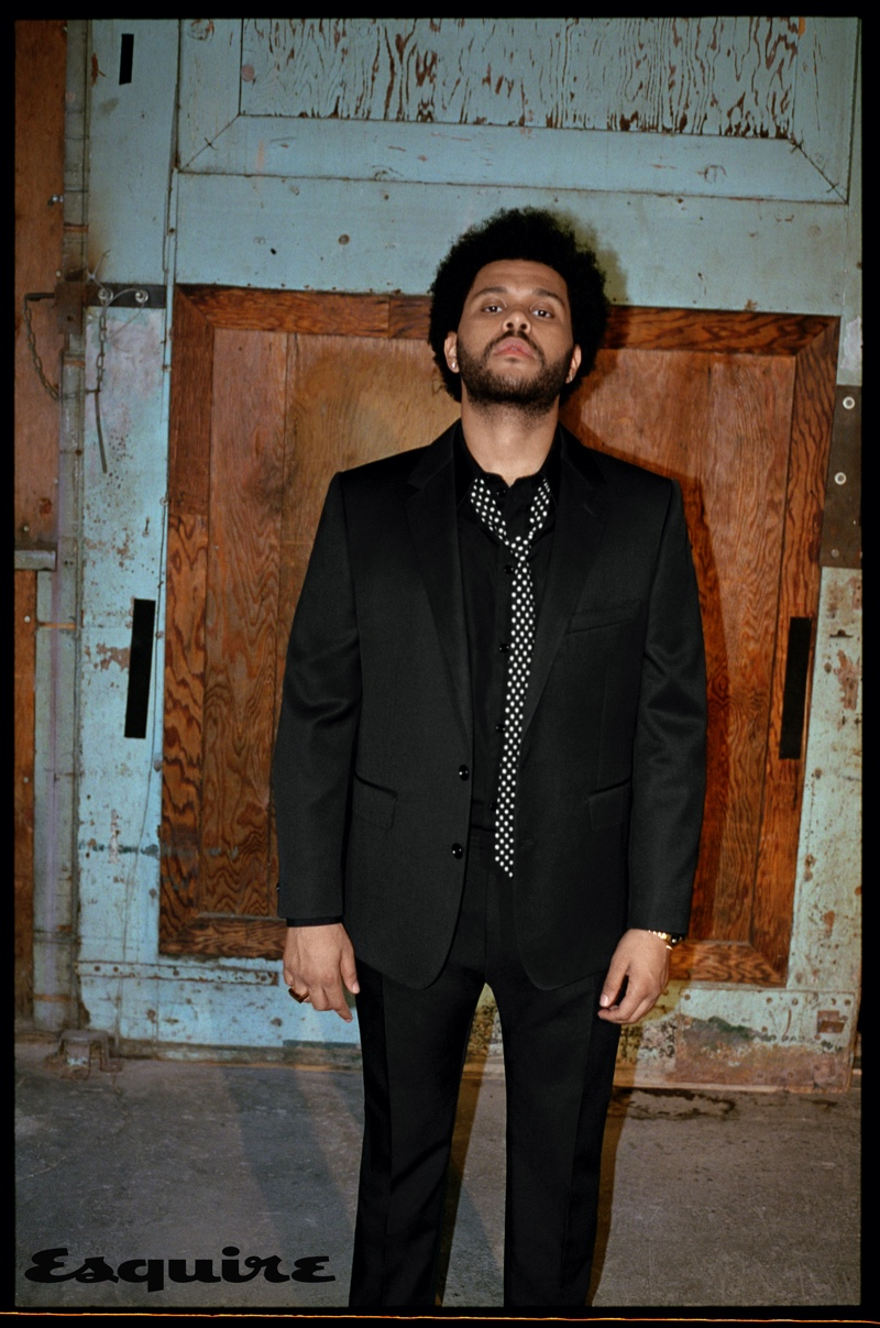 Front and center, The Weeknd sports a sharp look from Celine for Esquire.