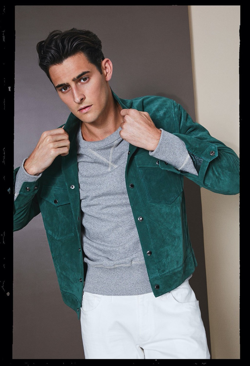 Ready to be a leading man, Rhys Pickering sports Todd Snyder's Italian suede snap Dylan jacket in eucalyptus.