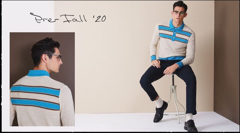 Rhys Pickering dons a long-sleeve stripe sweater polo from Todd Snyder.