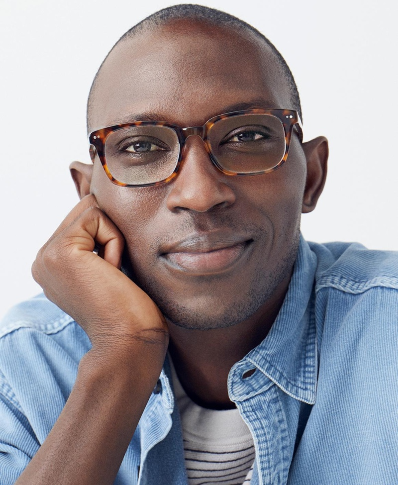 Armando Cabral dons Warby Parker's Mullins acorn tortoise glasses.