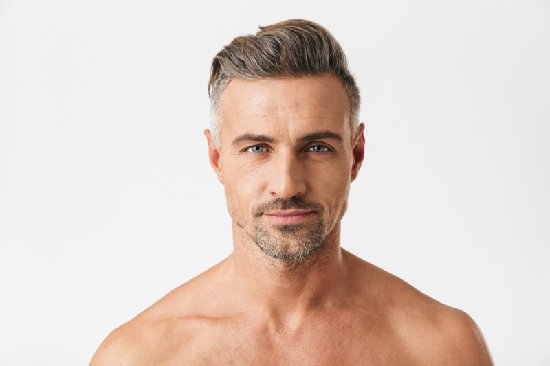 Attractive Man Greying Hair Beauty Wrinkles