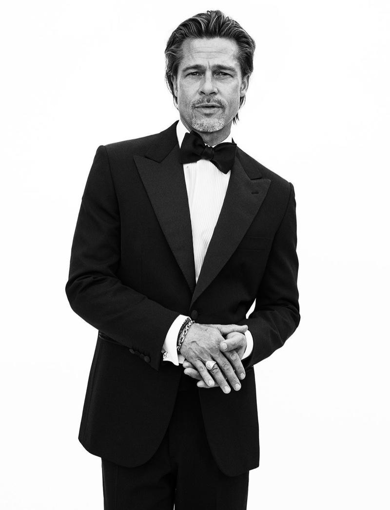 Brad Pitt dons a sharp tuxedo for Brioni's fall-winter 2020 campaign.