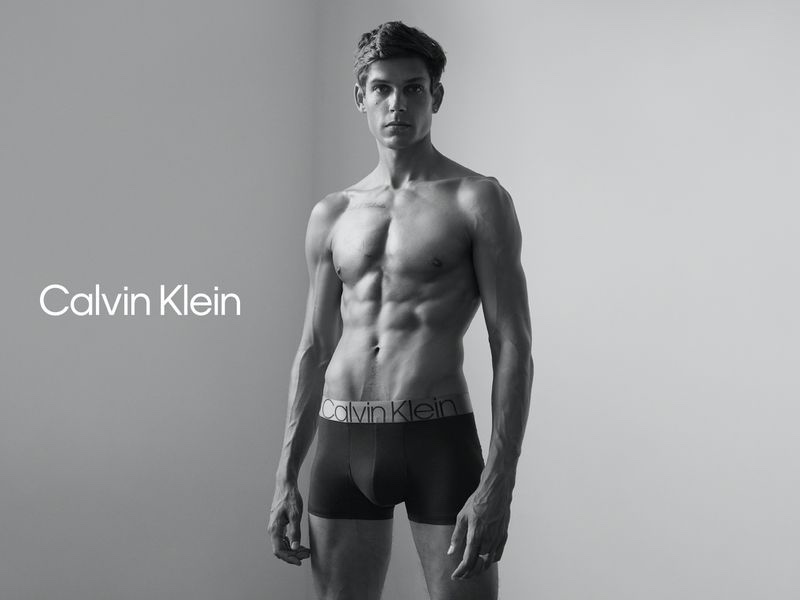 Donning Calvin Klein underwear, Ethan James Green fronts the brand's fall 2020 #MyCalvins campaign.