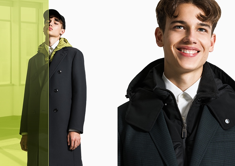 All smiles, Carlo models menswear from Canali's fall-winter 2020 Black Edition collection.