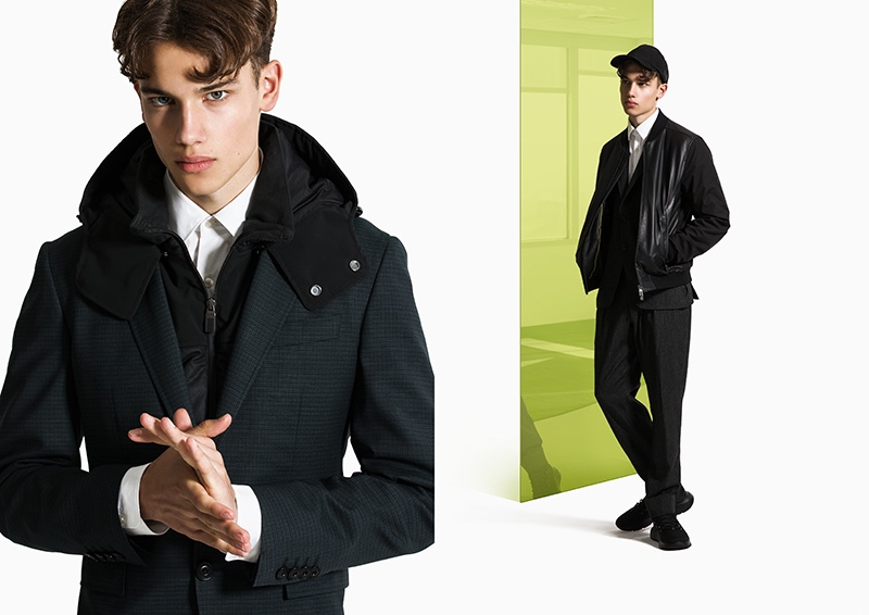 Representing the modern Canali man well, Carlo sports a mix of tailoring and casual pieces, such as the bomber jacket.