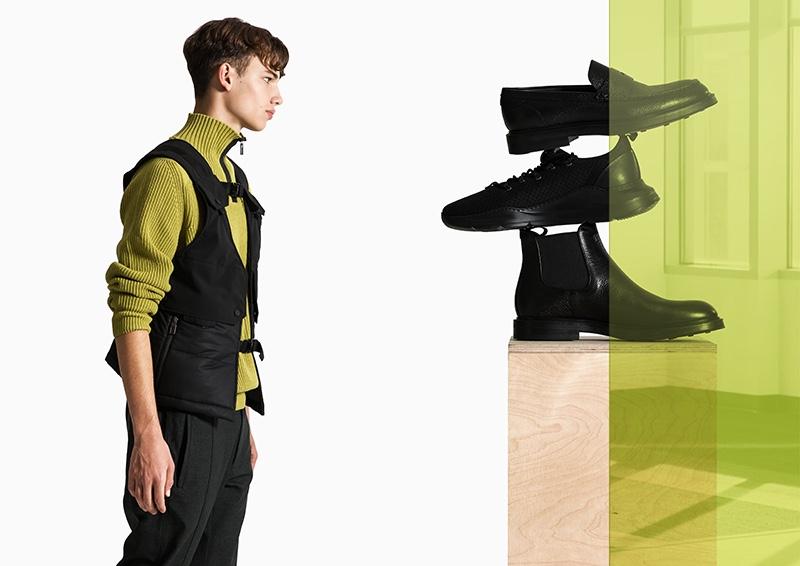 Model fresh face Carlo appears alongside essential footwear from Canali Black Edition.