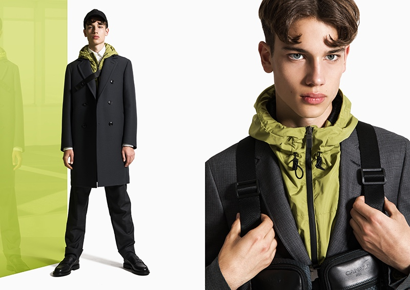 Showcasing how to update your wardrobe with color, Carlo dons pieces from Canali Black Edition.