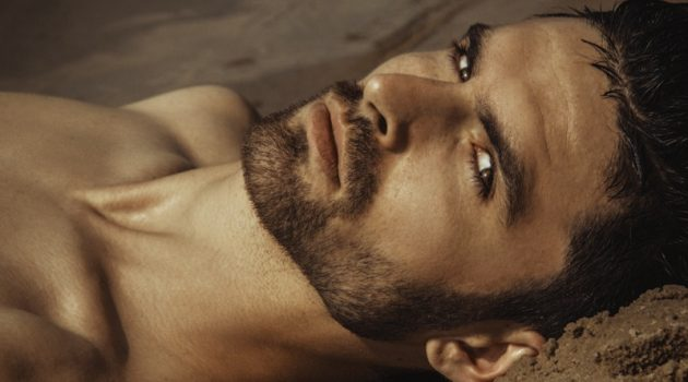Closeup Male Model Beard Sand Beauty