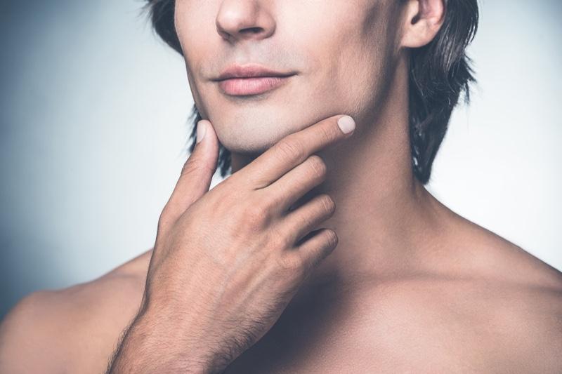 Closeup Man's Chin Jaw Beauty Grooming