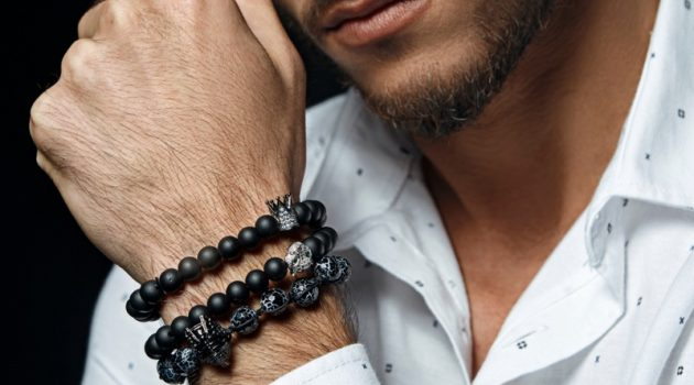 Closeup Mens Beaded Jewelry Bracelets