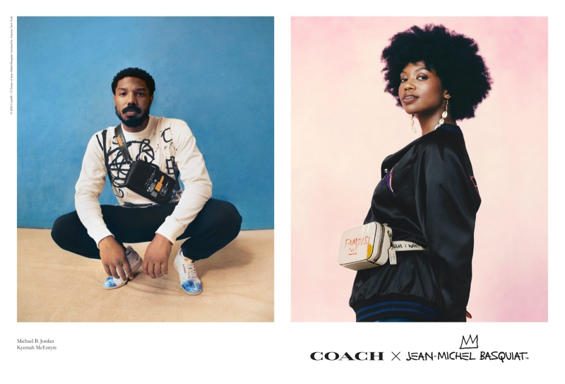 Michael B. Jordan and Kyemah McEntyre front the Coach x Jean-Michel Basquiat collection campaign.