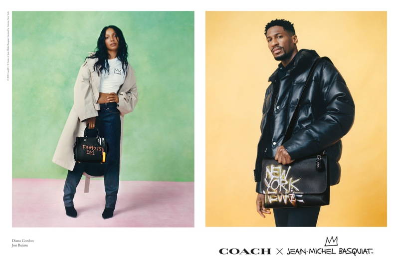 Diana Gordon and Jon Batiste front the Coach x Jean-Michel Basquiat collection campaign.