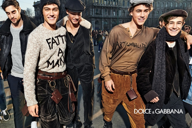 Jeff Zimbris, Evans Nikopoulos, Farhan Alam, and Matt Körmendi take to the streets of Milan for Dolce & Gabbana's fall-winter 2020 men's campaign.