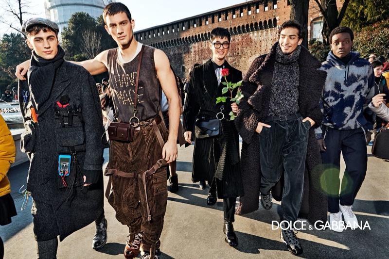 Eugen Renko, Ljubisa Grujic, Aiden Park, Donovan Santos, and King (Persona Milano) appear in Dolce & Gabbana's fall-winter 2020 men's campaign.