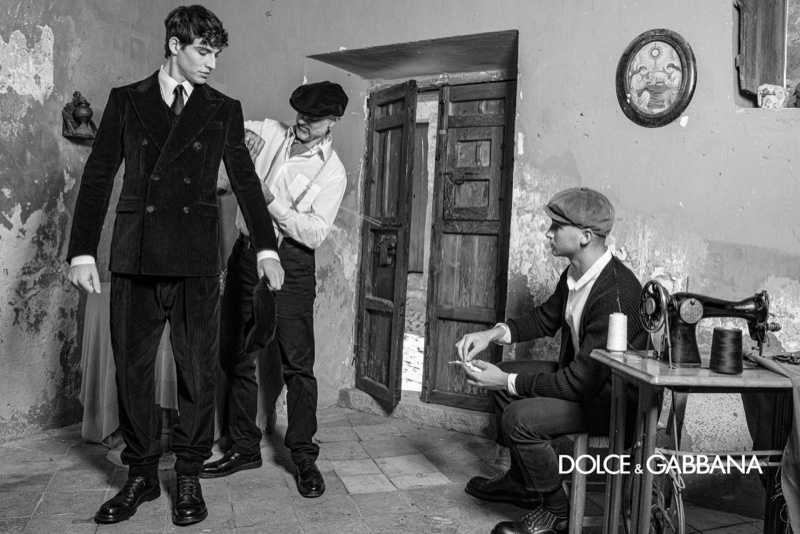 Meeting with a tailor, Amerigo Valenti channels an old-school vibe for Dolce & Gabbana's fall-winter 2020 men's campaign.
