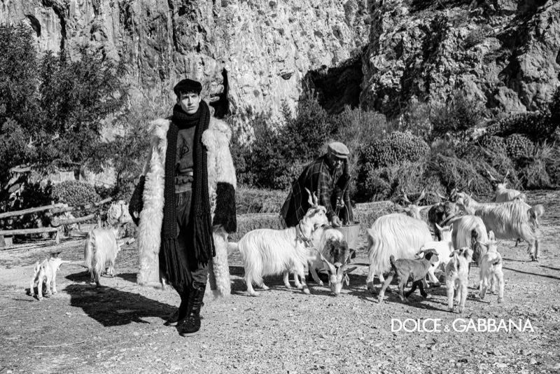 Model Amerigo Valenti travels to Custonaci, Sicily for Dolce & Gabbana's fall-winter 2020 men's campaign.