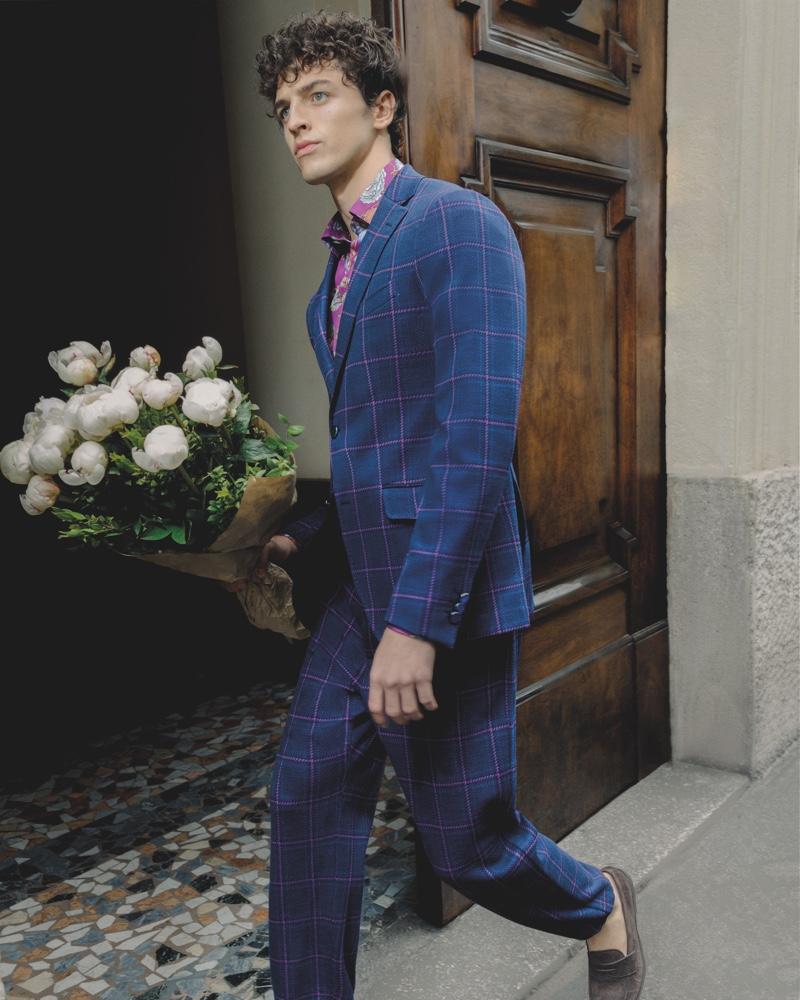 Alberto Perazzolo dons Etro's 24 Hour jacket in a sleek windowpane print.