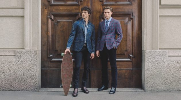 Models Alberto Perazzolo and Maxime Trabouile sport Etro's 24 Hour jacket.