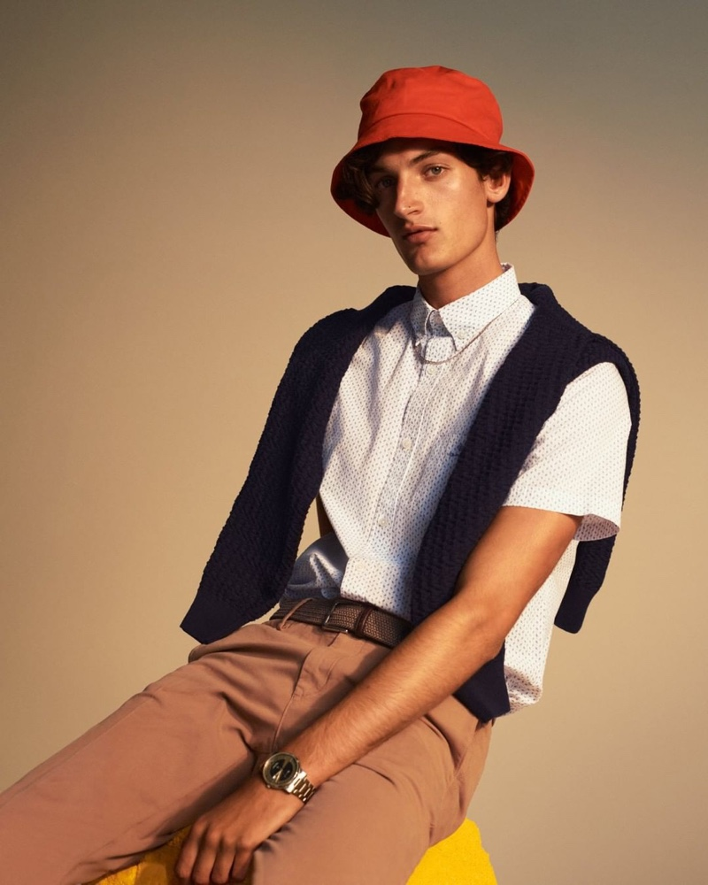 Aaron Shandel dons a preppy look from GANT's pre-fall 2020 collection.