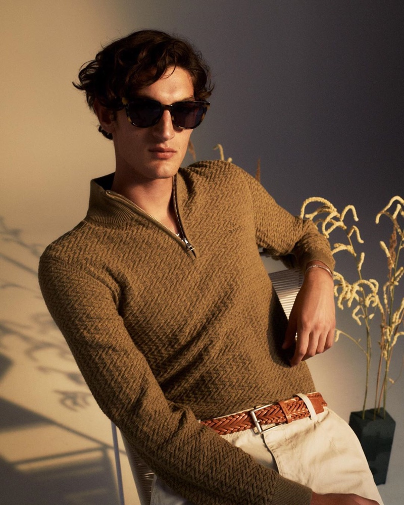 A sleek vision, Aaron Shandel wears menswear from GANT's pre-fall 2020 collection.