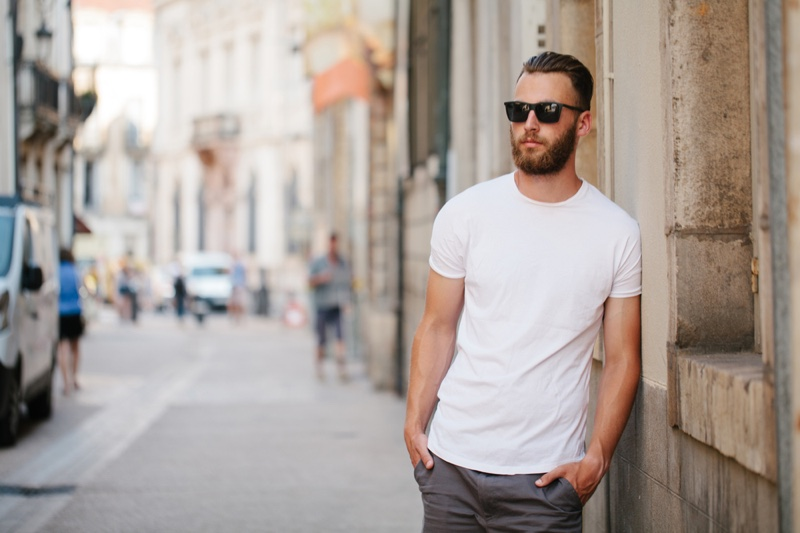 Guy White T-Shirt Street Sunglasses Casual