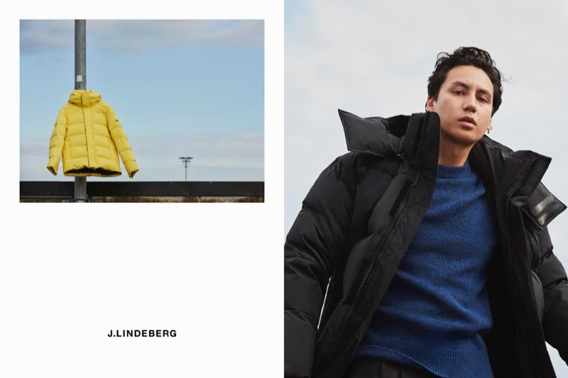 Qhris Magsino sports an oversized parka with a blue crewneck sweater for J.Lindeberg's fall-winter 2020 campaign.