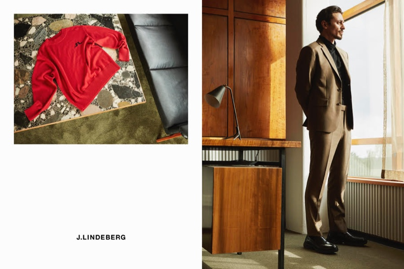 Alexej Manvelov embraces sharp tailoring in J.Lindeberg for the brand's fall-winter 2020 campaign.