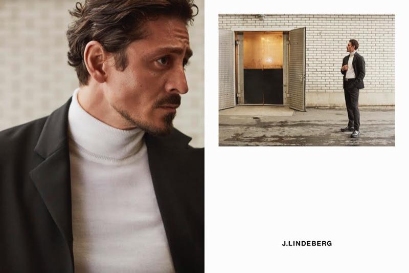 Pelle Lannefors photographs actor Alexej Manvelov for J.Lindeberg's fall-winter 2020 campaign.